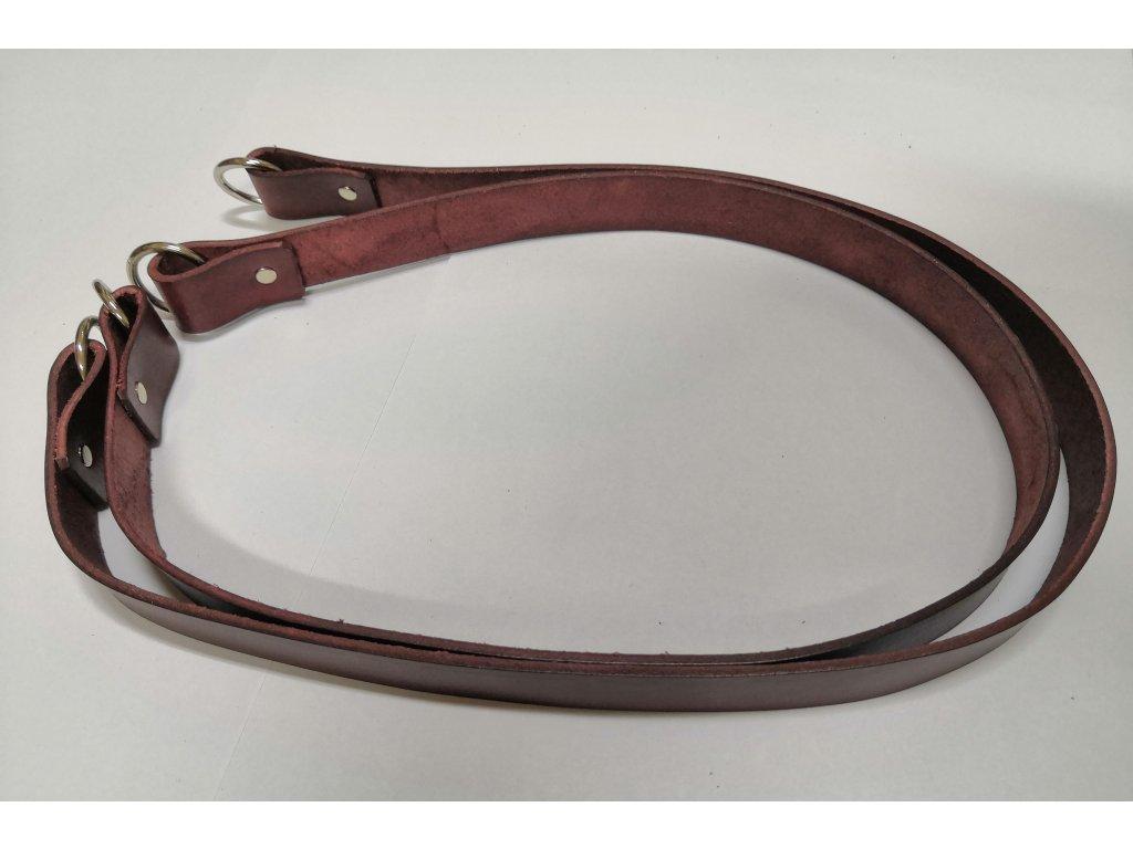 Kožené uchá na kabelku s krúžkom - mahagon
