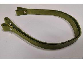 Kožené uchá na kabelku - oliva