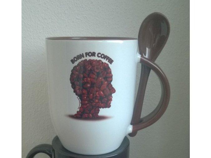 """Hrníček se lžičkou - motiv """"Kávová hlava"""""""
