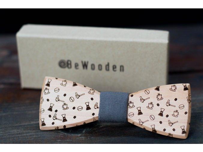 Motýlek pánský dřevěný / motiv páka, filter, tamper .....