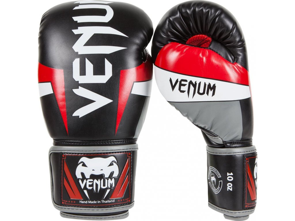 Boxing Gloves Venum Elite - Black/Red/Grey