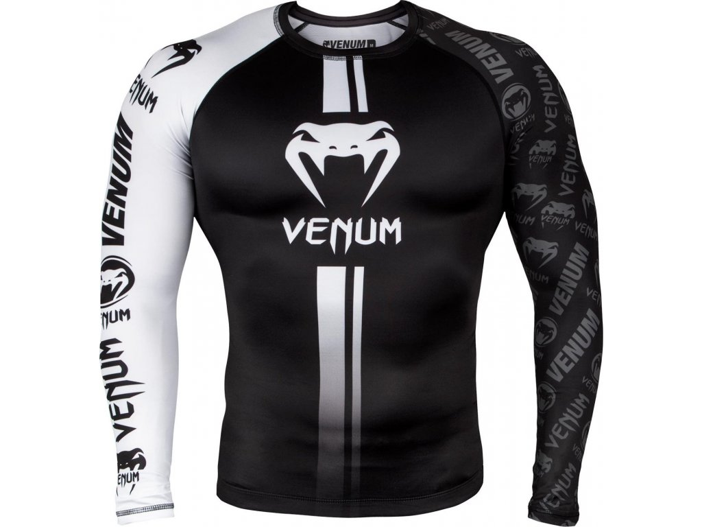 Rashguard Venum Logos - Long Sleeves - BLACK/WHITE