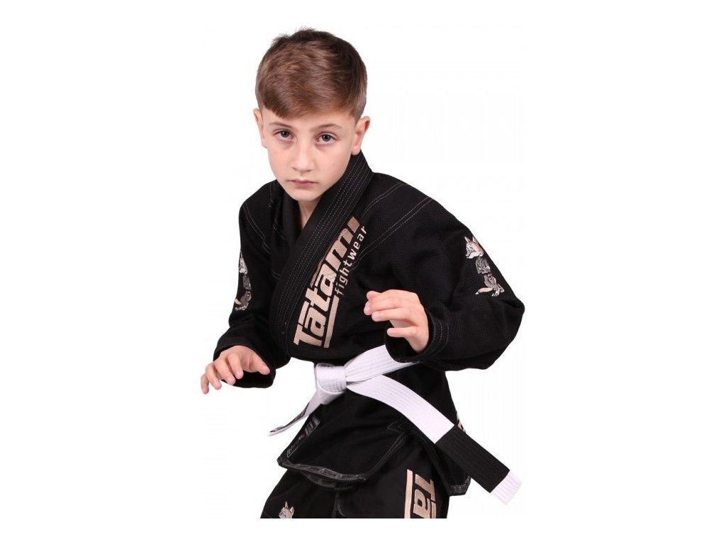 Kids BJJ gi kimono / gi NEW MEERKATSU KIDS ANIMAL - BLACK - Tatami Fightwear + FREE WHITE BELT