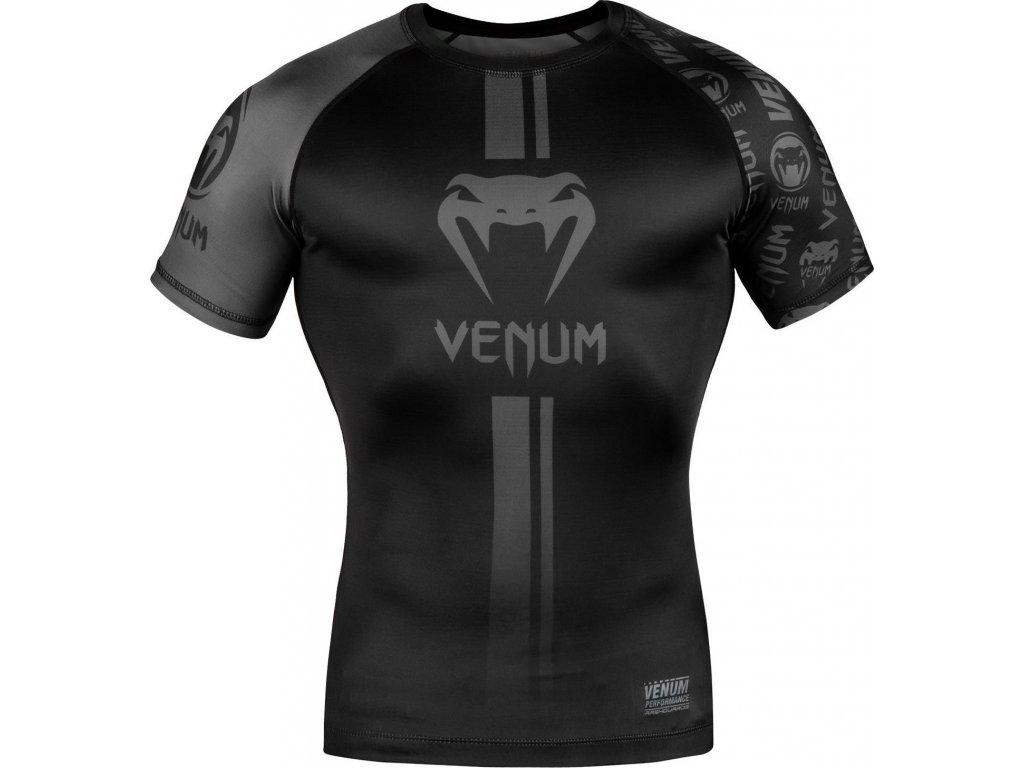Rashguard Venum Logos - Short Sleeves - Black/Black