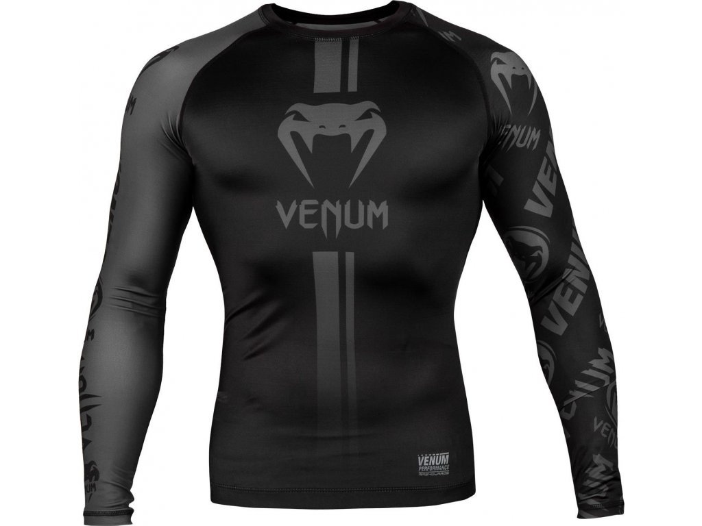 Rashguard Venum Logos - Long Sleeves - Black/Black