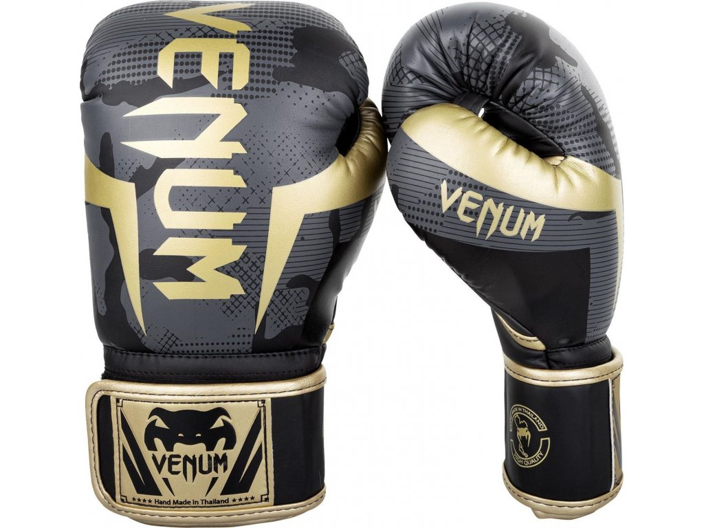 Boxing Gloves Venum Elite - Dark Camo/Gold
