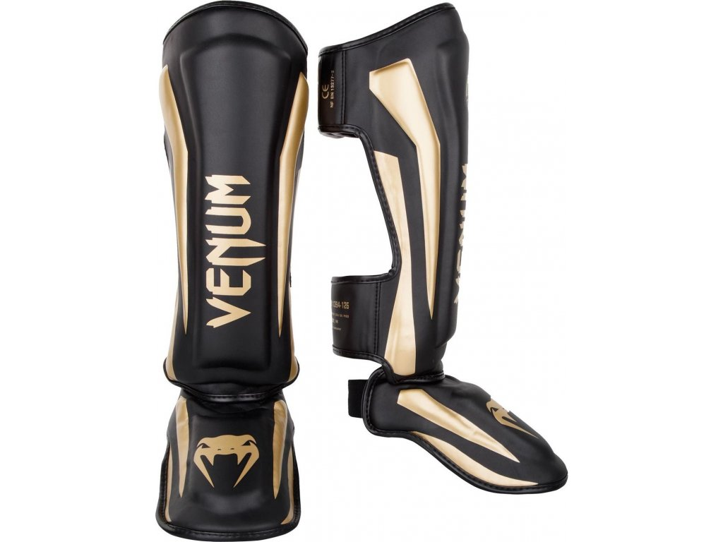 Standup Shin Guards Venum Elite - Black/Gold