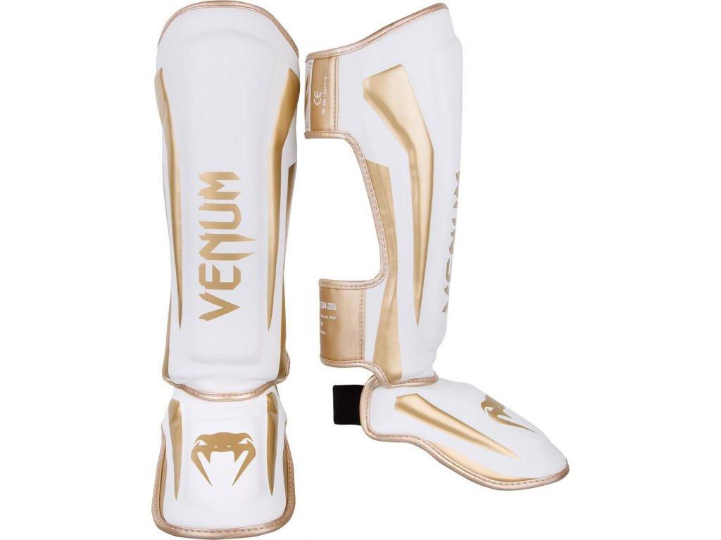 Standup Shin Guards Venum Elite - White/Gold