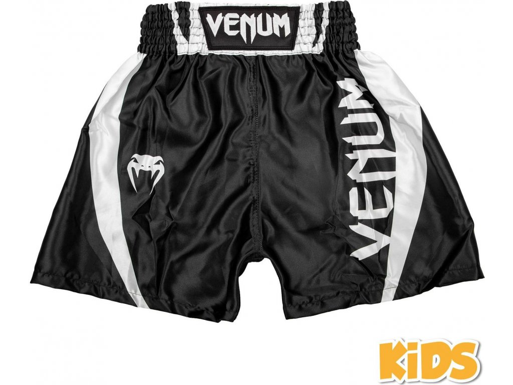 KIDS Boxing Shorts Venum Elite - Black/White