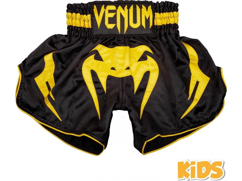 KIDS Muay Thai Shorts Venum Bangkok Inferno - Black/Yellow