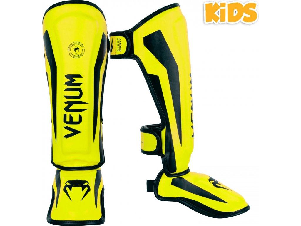 KIDS Shin Guards Venum Elite - Neo Yellow