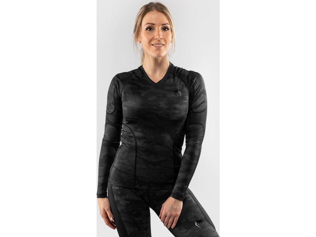Women Rashguard Venum Defender - Long Sleeves - Black/Black
