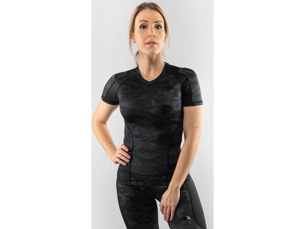 Women Rashguard Venum Defender - Short Sleeves - Black/Black