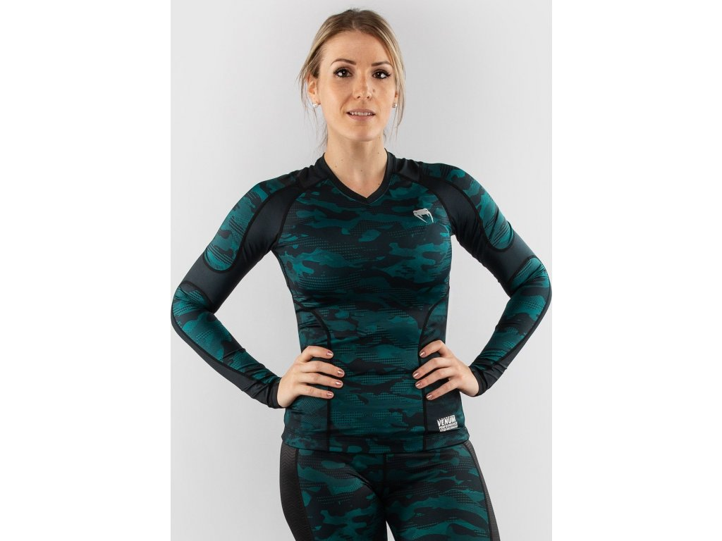 Womens Rashguard Venum Defender - Long Sleeves - Black/Green