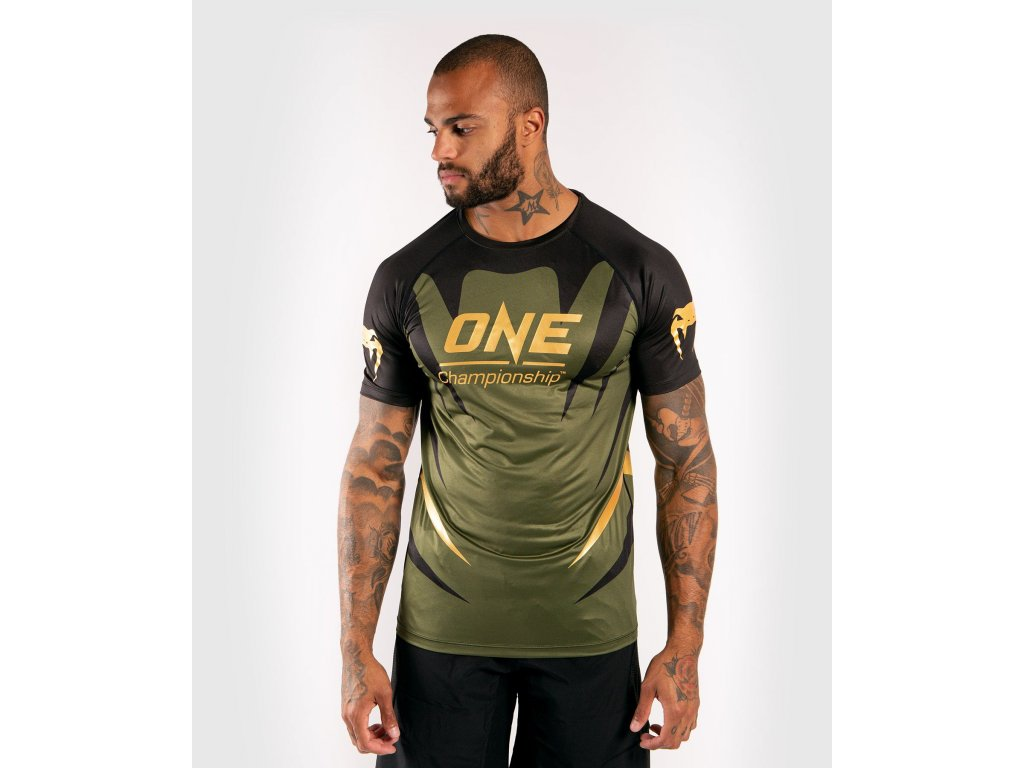 Men's T-shirt Venum X One FC Dry Tech - Khaki/Gold