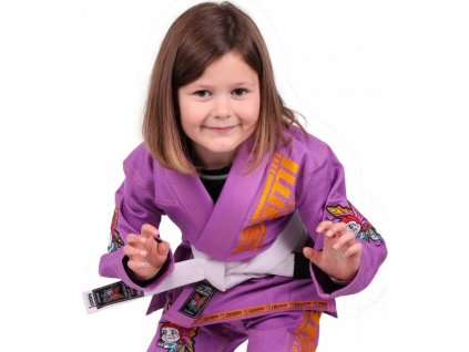 Kids BJJ gi kimono / gi NEW MEERKATSU KIDS ANIMAL - PURPLE - Tatami Fightwear + FREE WHITE BELT