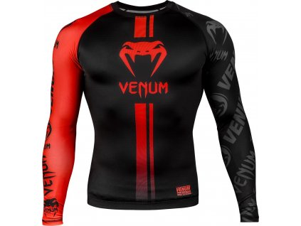 Rashguard Venum Logos - Long Sleeves - Black/Red