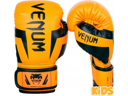 KIDS Boxing Gloves Venum Elite - Black/Orange
