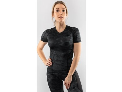Women Rashguard Venum Defender - Short Sleeves - Black/Black