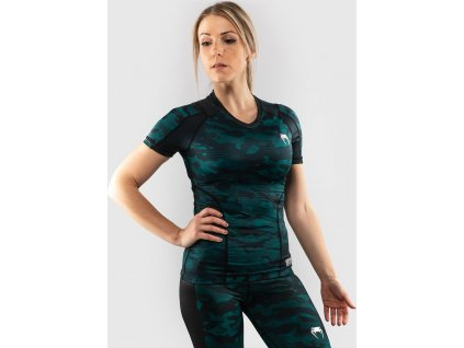 Womens Rashguard Venum Defender - Short Sleeves - Black/Green