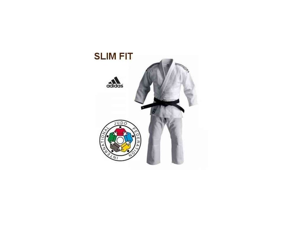 Kimono na judo IJF ADIDAS CHAMPION II Slim Fit - bílé
