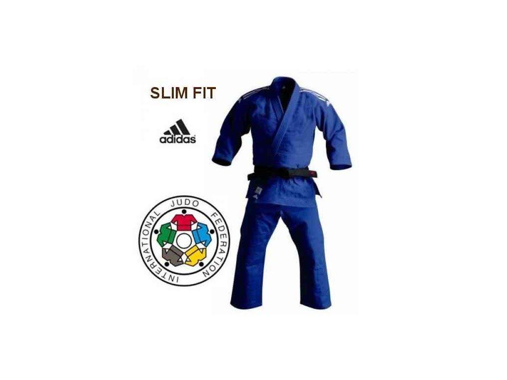 Kimono na judo IJF ADIDAS CHAMPION II Slim Fit - modré