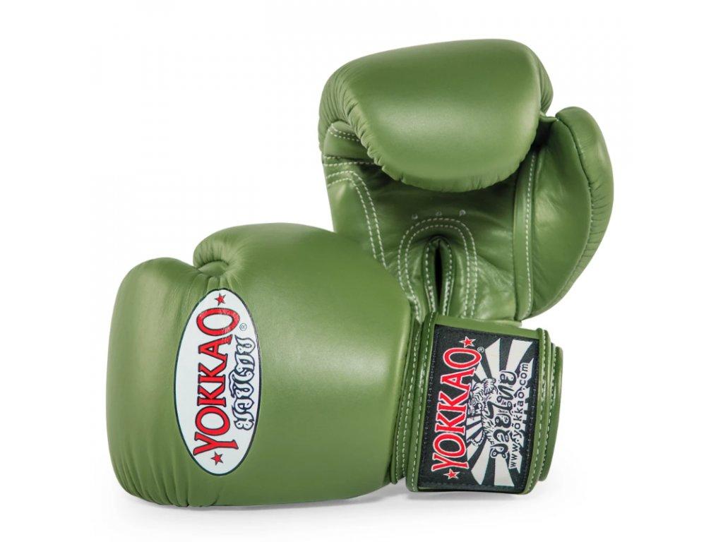 Boxerské rukavice Yokkao zelené army