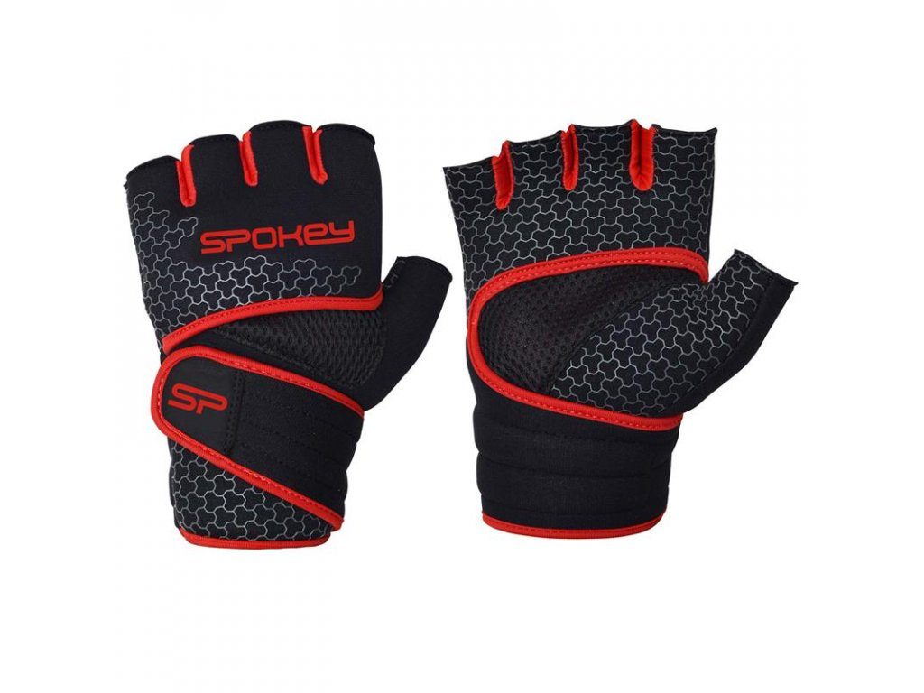 Spokey LAVA Neoprenové fitness rukavice, černo-červené, vel. M