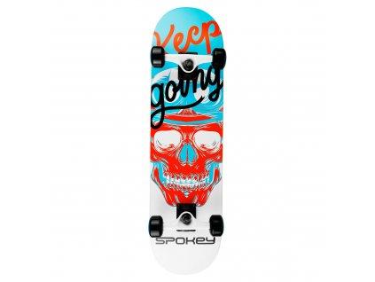 Spokey SKALLE Skateboard 78,7 x 20 cm, ABEC7, bílo-modrý
