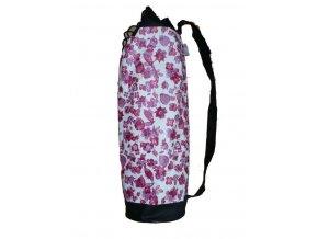 Yoga vak černý s růžoovou květinou (75x19 cm )