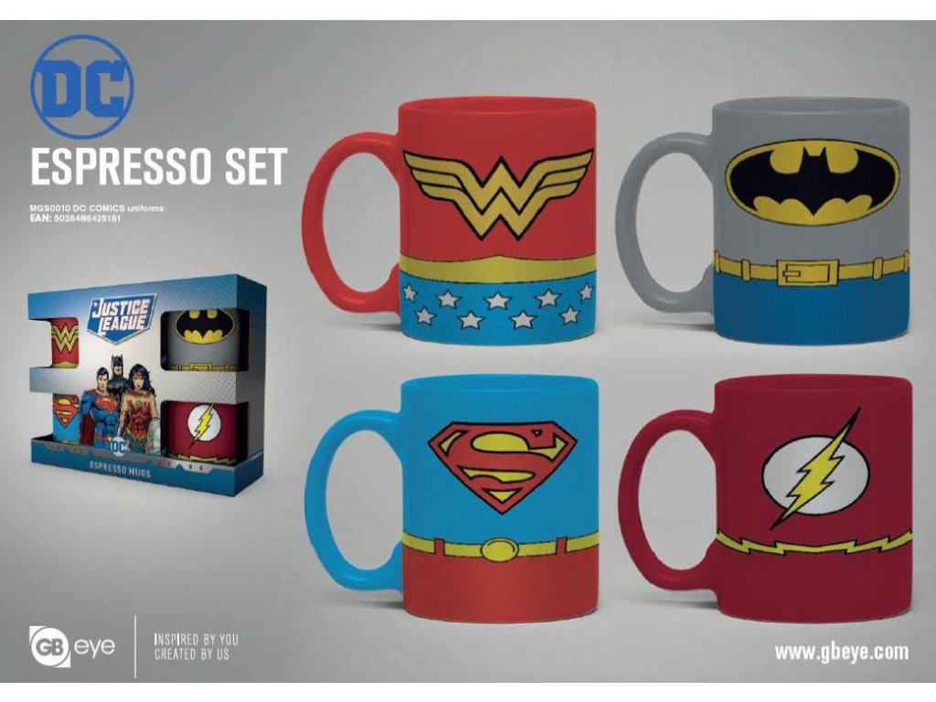 DC Comics Espresso Mugs 4-Pack Uniforms GB eye