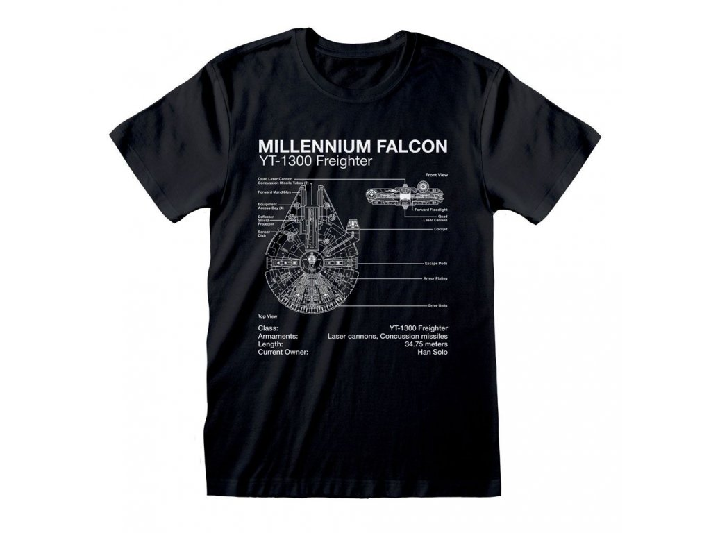 Star Wars T-Shirt Millenium Falcon Sketch Heroes Inc
