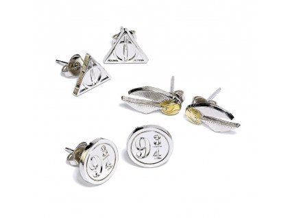 Harry Potter Earrings 3-Pack Snitch/Deathly Hallows/Platform 9 3/4 (silver plated) Carat Shop, The