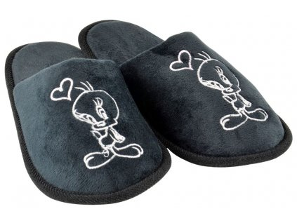 Looney Tunes Slippers Tweety Black Heart United Labels