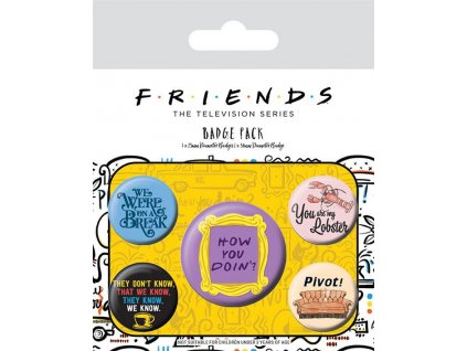 Friends Pin Badges 5-Pack Quotes Pyramid International