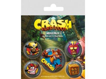 Crash Bandicoot Pin Badges 5-Pack Pop Out Pyramid International