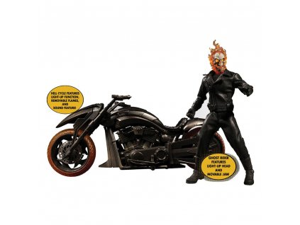 Ghost Rider Action Figure & Vehicle with Sound & Light Up 1/12 Ghost Rider & Hell Cycle Mezco Toys