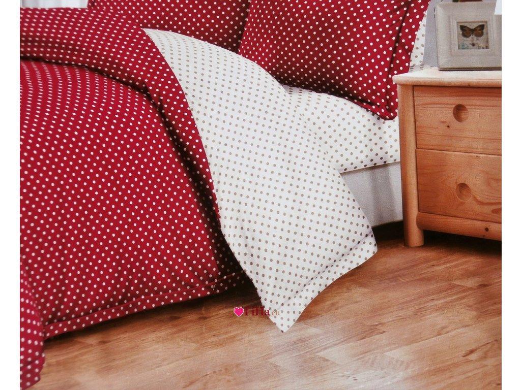 Obliečky Dvojstranné Bodkované béžovo-červené Bavlna 7-dielna súprava