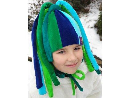 čiapka zeleno modrá