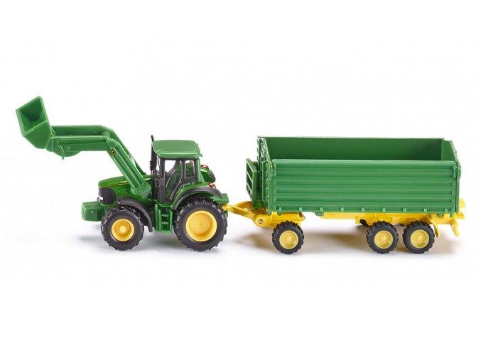 Siku traktor John Deere s čelním nakladačem a přívěsem 1:87