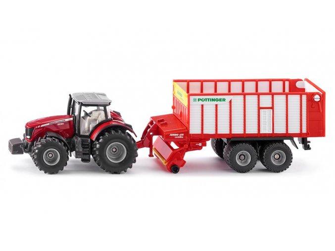 Siku MASSEY FERGUSON traktor s PÖTTINGER JUMBO 1:50