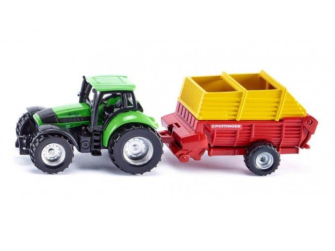 SIKU traktor se sběracím vozem PÖTTINGER 1:87