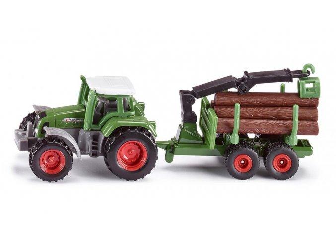 Siku traktor Fendt s přívěsem na dřevo 1:87