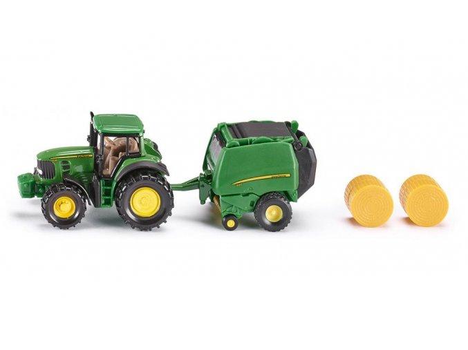 Siku traktor John Deere s lisem na balíky 1:87