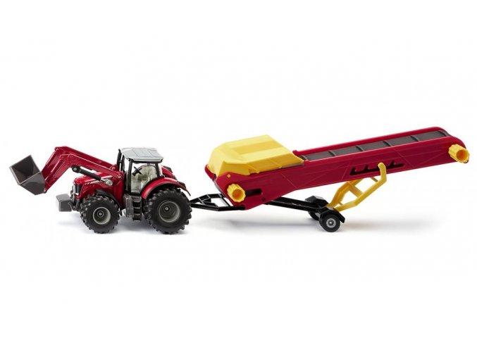 Siku Traktor s dopravním pásem Massey Feurguson
