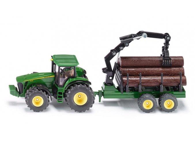 SIKU John Deere Farmer Traktor s lesním přívěsem 1:50
