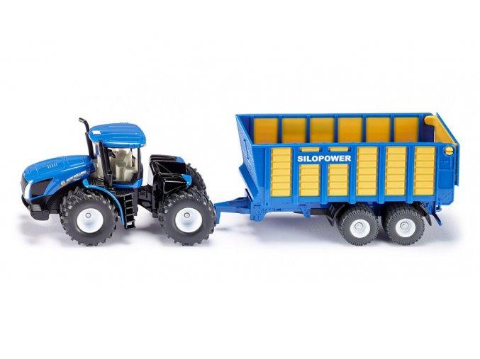 SIKU New Holland Joskin Farmer Traktor s přívěsem 1:50
