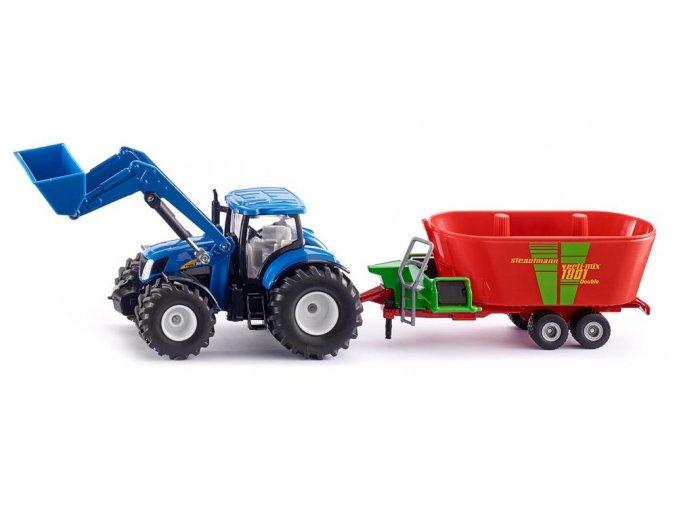 Siku traktor New Holland s čelním nakladačem a míchačem krmiva 1:50