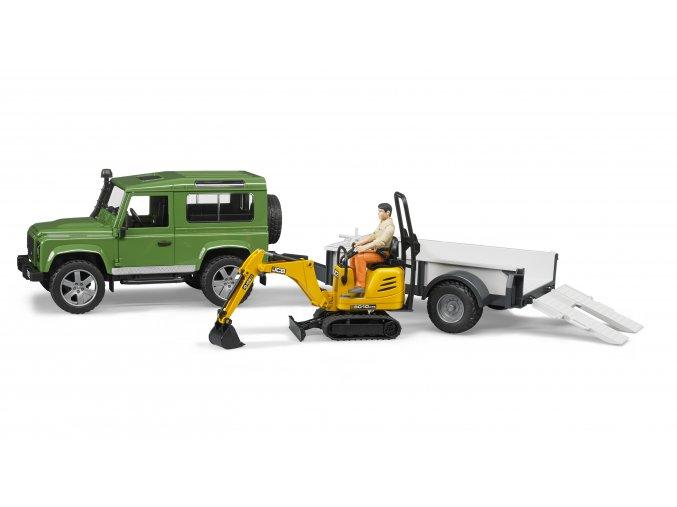 Bruder Auto Land Rover s přívěsem + JCB mikrobagr BR2593