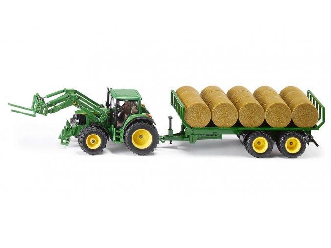 SIKU 3862 Traktor s přívěsem na kulaté balíky 1:32
